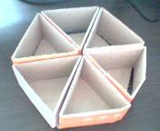 六个三角框和底部粘在一起