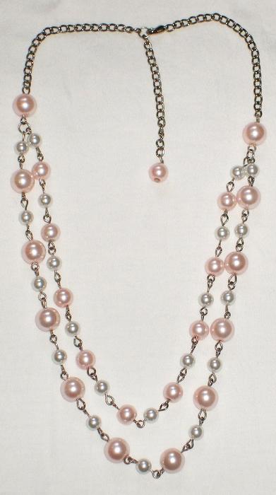 双层粉红珍珠项链