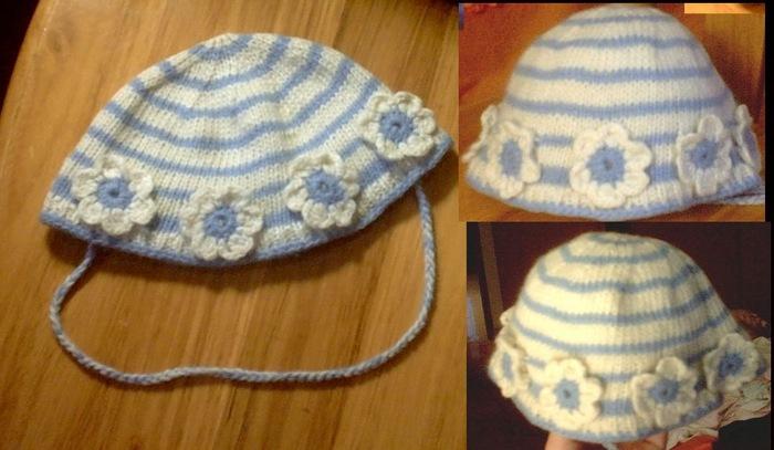 花帽子  迷云的30元羊毛  花了我一个下午,给刚满月的小侄女好像太大了点,长大点再用吧。