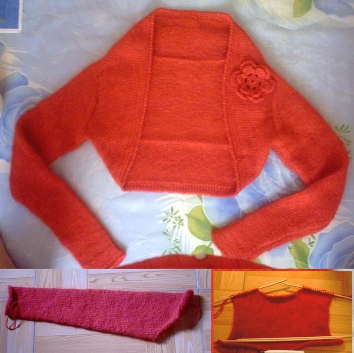 大红冬天版小坎肩  这件也是用迷云的纯羊毛加一根马海织的,是织了一件大红的毛衣后,剩下的线线织的,上次