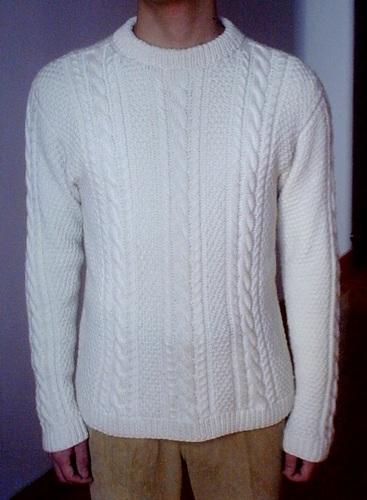 老公的白毛衣  这件是织给老公的,图解也上了。249楼25页