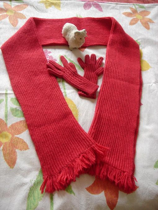 围巾是用双元宝针打的!