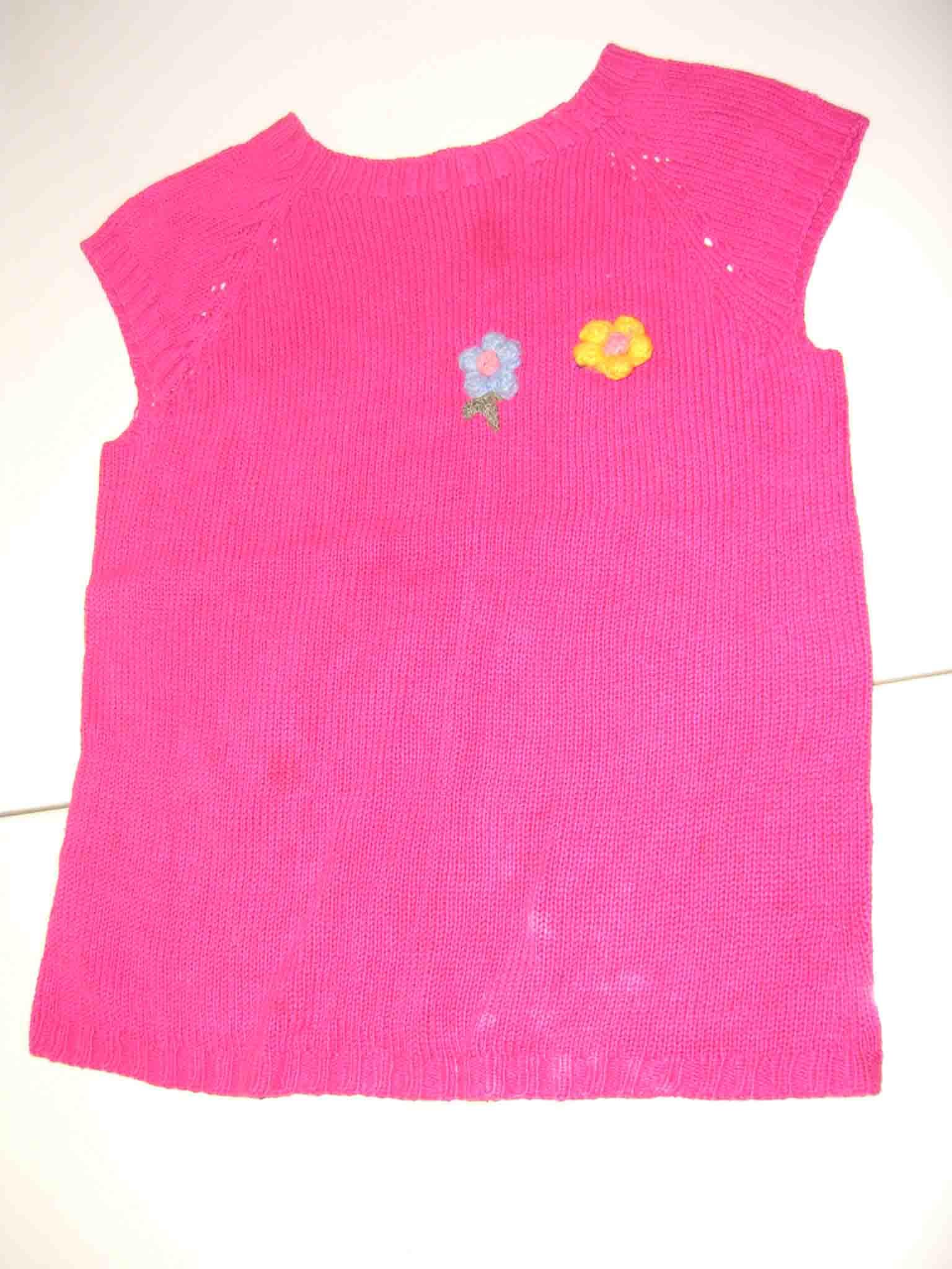 玫瑰红绣花棉线短袖