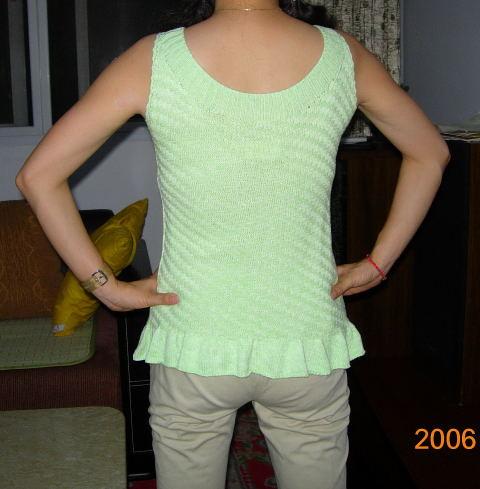 绿色丝光棉线无袖衫(背面)