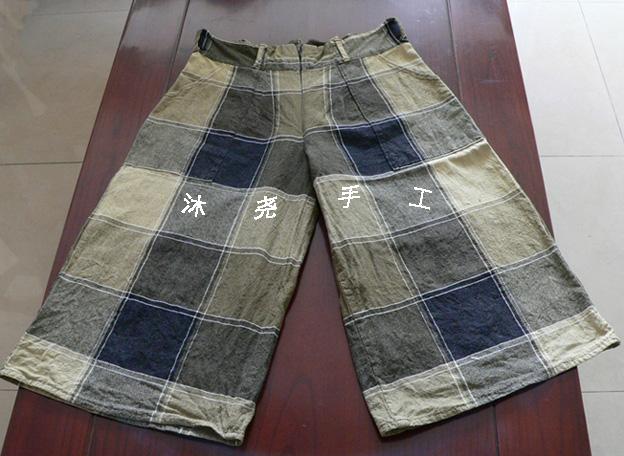 方格中裤,粗布床单布