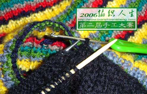 织一片上下针的领子,再末端用两根棒针挑出上、下针单独织