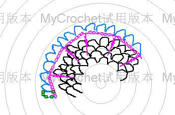 裙摆的图解,歪歪扭扭的曲线代表5 针小辫