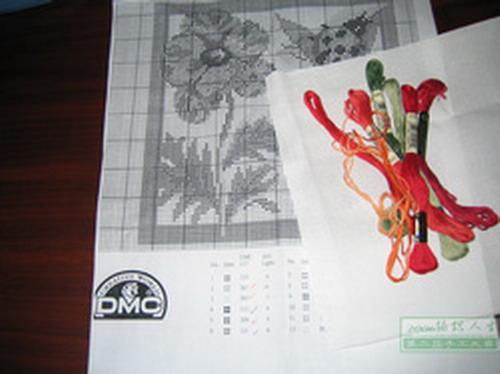图1:准备绣  图纸:DMC网站的新图  14格DMC纯棉绣布(25X25)  12支DMC绣线  24号绣针 &nb