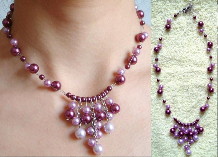 紫红珍珠项链
