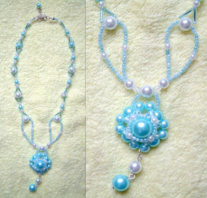 粉蓝珍珠串珠链
