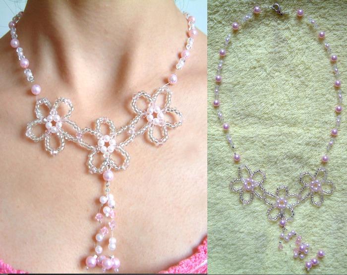 粉红三朵花项链