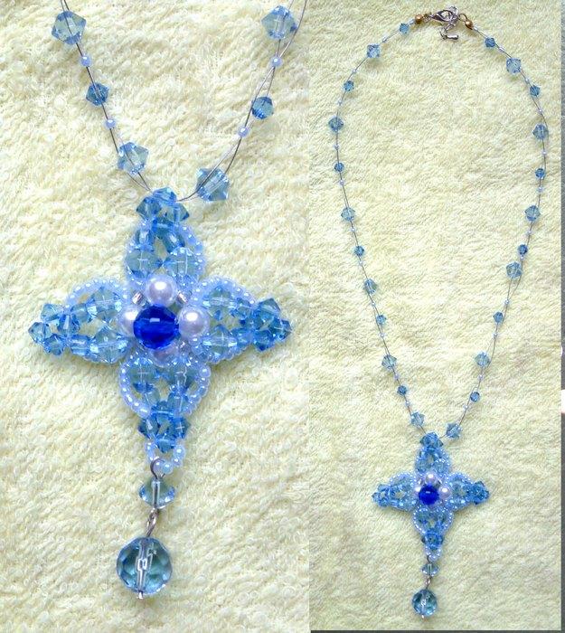 蓝色水晶串珠链