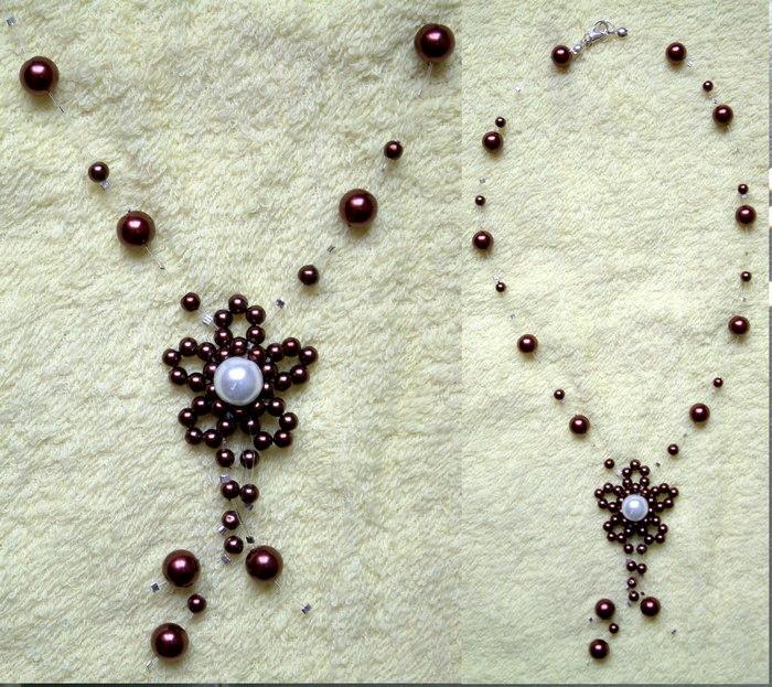 咖啡珍珠串珠链