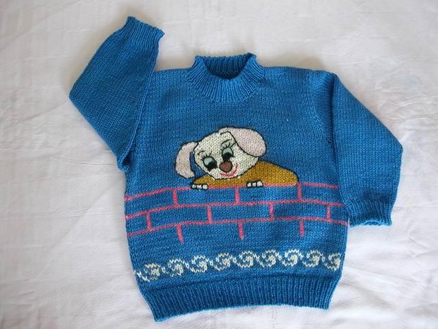 妈妈给宝宝织的小狗毛衣