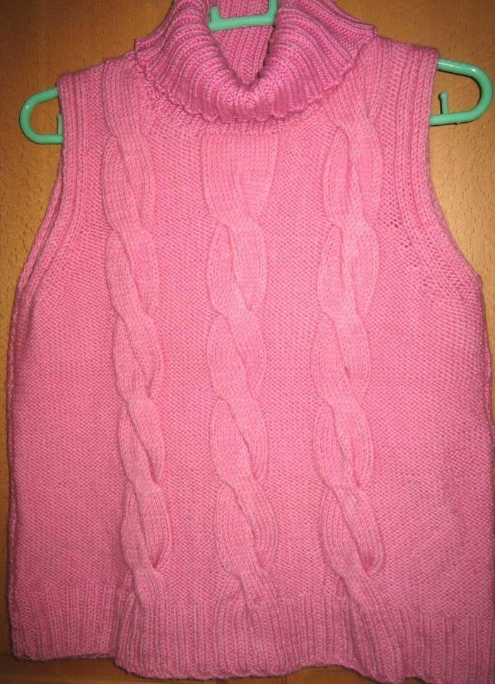 粉色大麻花毛背心,按书上织的,都很简单的