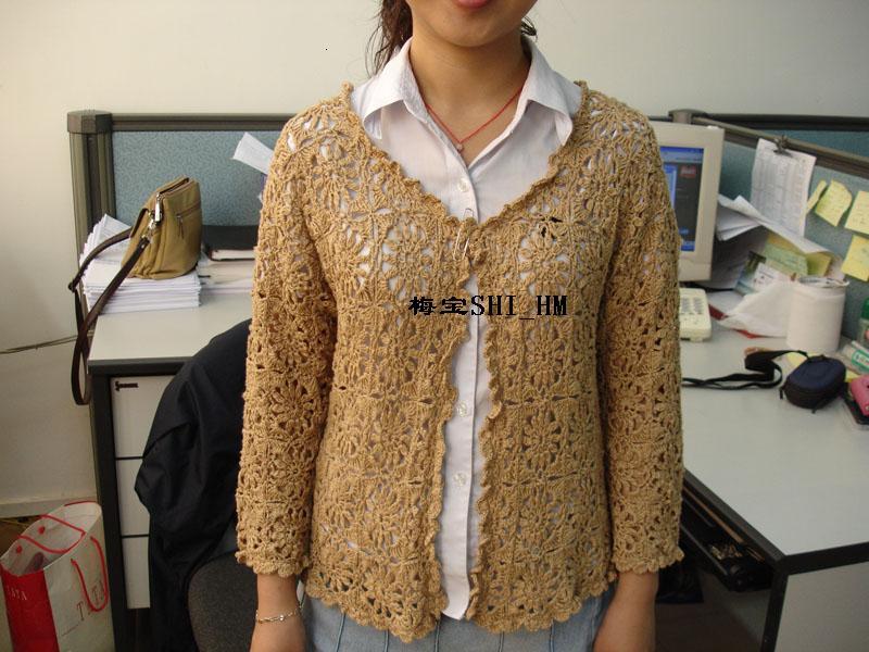 米杏拼花七分袖,天丝竹纤维的线