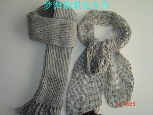 老公的围巾是织的,我有剩余的线给自己钩了一个.