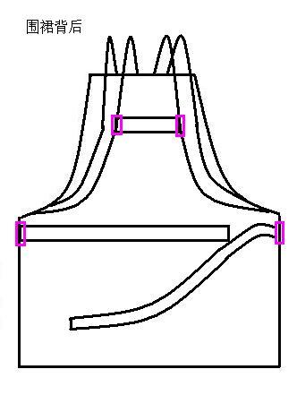 3、围裙背后处理,如图,加了中间的小横条后,围裙就不容易向下滑了。胯处安装的带子长度如图所示,两边一