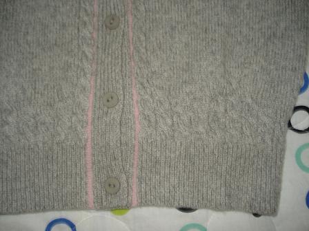 浅灰色观音领羊绒开衫 门襟