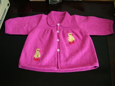 玫红3股圆棉小孩衣