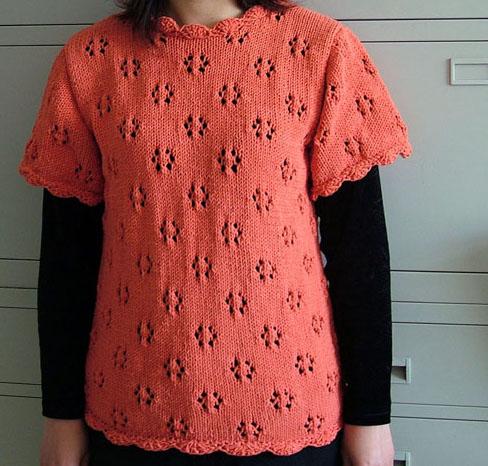 桔红色6股圆棉的背心
