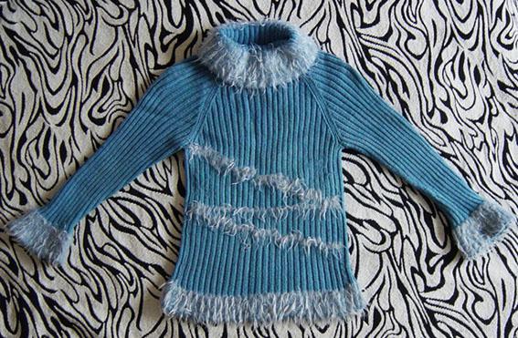 这是我织的第一检插肩袖的毛衣