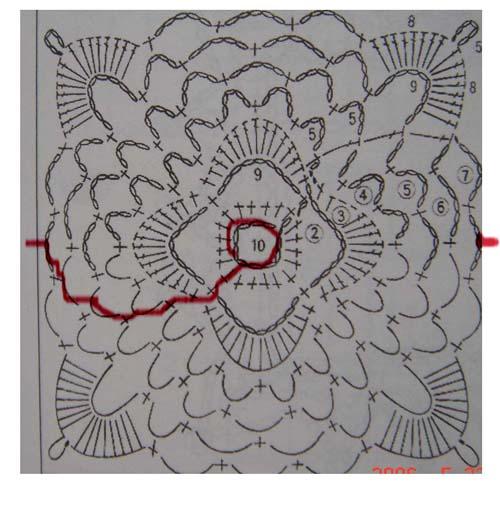 披肩单花图解,红色标记为连续线