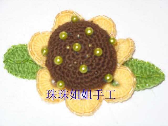 胸花(钩针与珠珠结合)