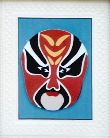 请看我手工编织的京剧脸谱图片