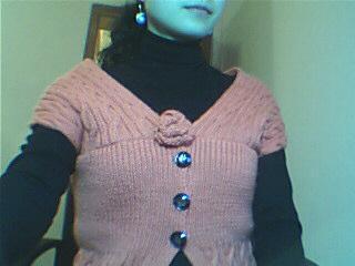 仿网上漂亮衣衣,可惜没相机,用摄像头拍得很差,颜色也变了,本来是桔红色,,,,还有,我身材也不太适合穿这种,所
