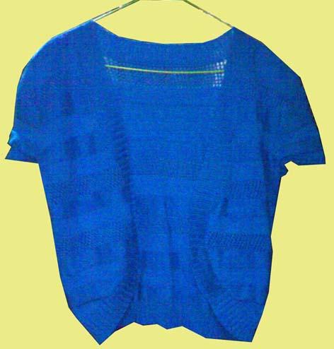 蓝色短开衫