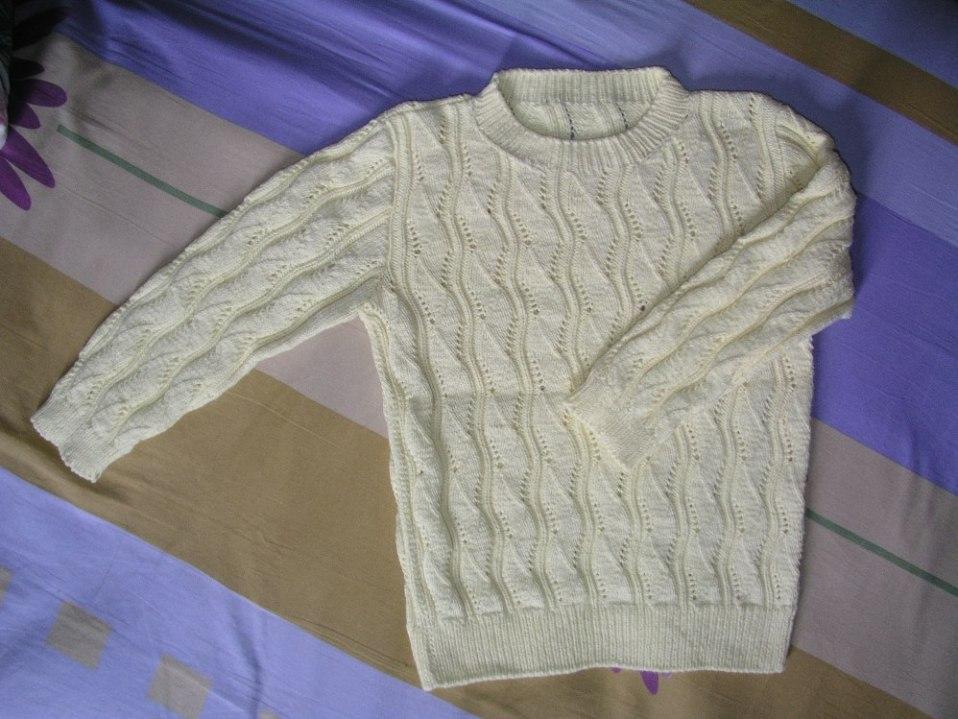 棉线黄色缕空毛衣