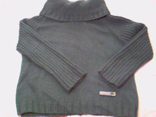 墨绿色的毛衣,插肩,商标是从衣服领子上剪下来的