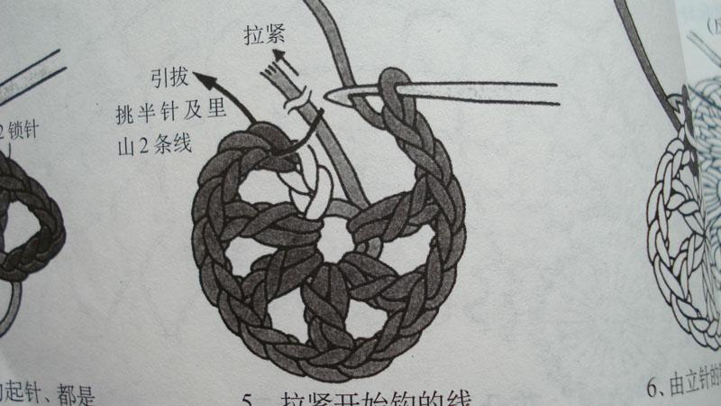 5:拉紧开始钩的线。