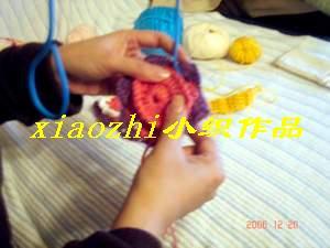 把铁丝的一头圆圈部用钩好的花朵在反面固定缝合,注意:缝合的要贴切,牢固,以免晃动