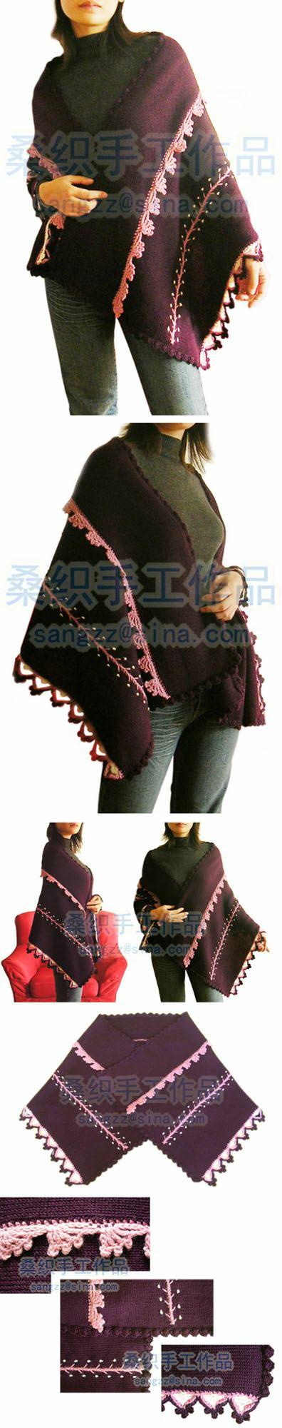 钩织结合的,深葡萄紫,对着光看罩上一层紫红的色泽,感觉很好。照片有色差。