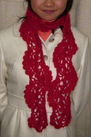马海毛钩的围巾,很简单的