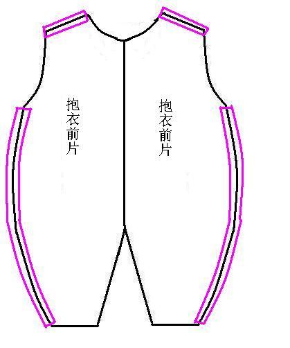4、将前片的左右两片分别与刚才做好的后片缝合,如图。