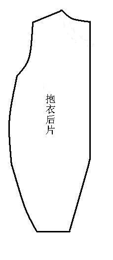 2、裁出两片后片,如图,领口处稍高些。