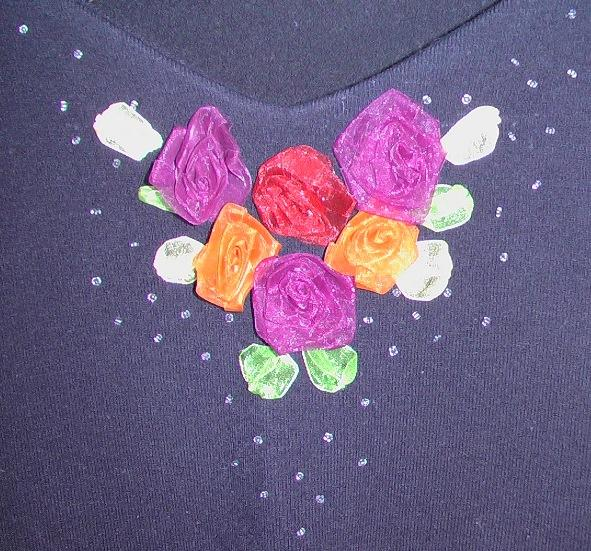 黑毛衣鸡心领上的绣花
