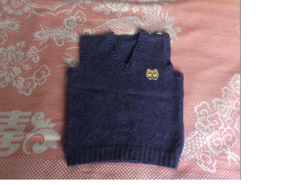 给女儿的第一件背心,是织毛裤剩下的线线,也是迷云家的牛仔兰羊仔毛,洗后出绒很软。毛裤随后。