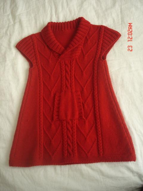 领子是单织好后加进去的,起82双,二上二下编织大约32行,然后跟编织好的衣服连起来的(详细的图解在21楼