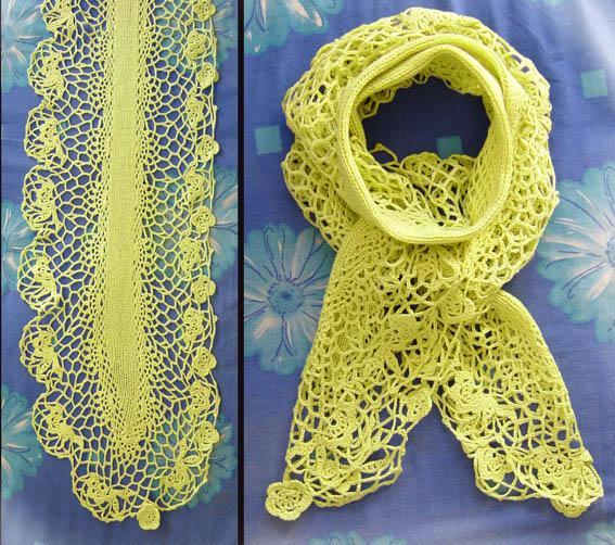 钩编结合的围巾,是猫妈家的兔羊绒