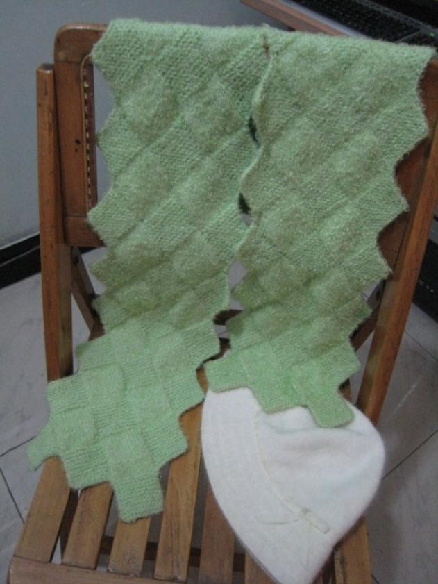 去年俺织的围巾,当时还不知道叫海浪呢