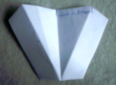 4、以竖折为中线在3.5cm处再斜着折,如图: