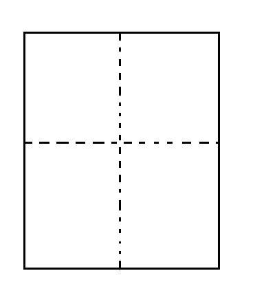 1、准备一张报纸,对折再对折,如图中的虚线折迹。