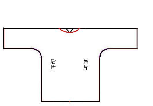 5、下面来裁后片吧,后片的领口要裁剪出来,宽度与前片相同,如图。