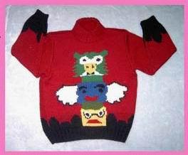 稍微暗一点的大红色可爱毛衣