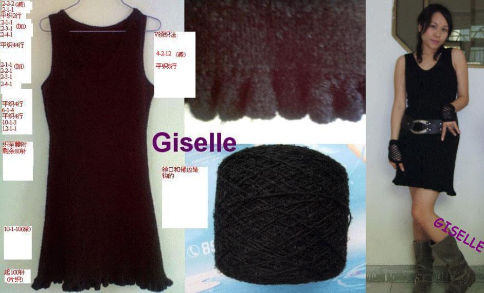 终于有不是仿的作品了:)用悠然南山的兔毛圈圈线织的黑色收腰连衣迷你裙(名字够长了吧?呵呵)