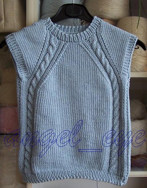 儿子的背心,羊毛夹棉纱,4.5毫米棒针
